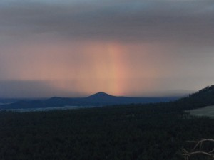 Rainbow in the distant rainclouds