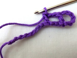 Chain 2, skip 2, DC into third stich. Repeat once.