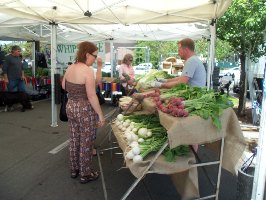 Produce booth at the Farmers' Market